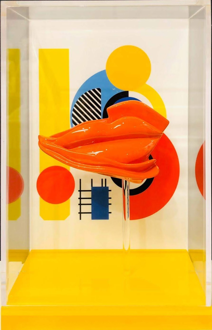 Orange Lips w/geometric composition